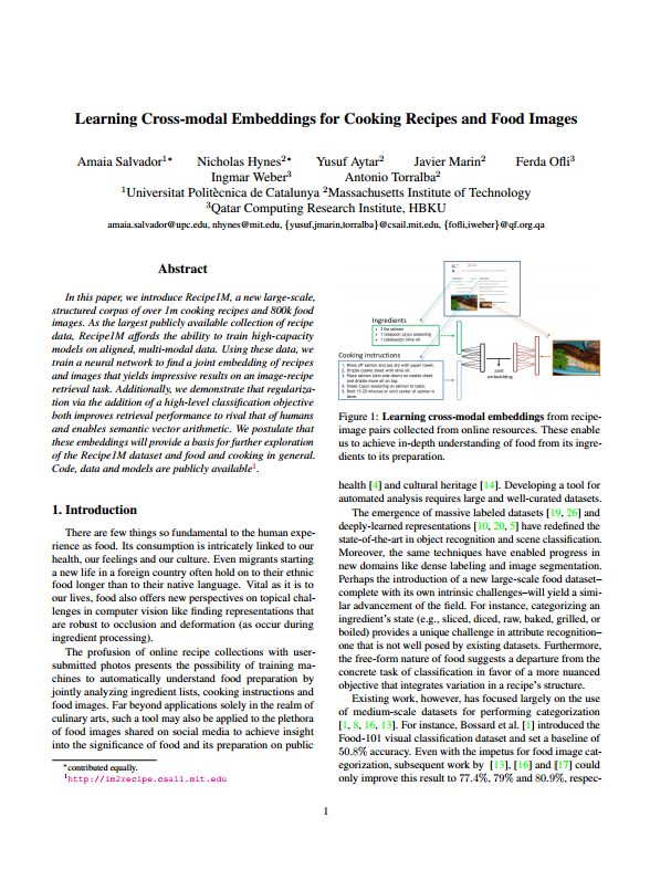 Learning Cross Modal Embeddings For Cooking Recipes And Food Images